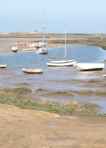 Boats and children, Burnham Overy, on Ruth's Coastal Walk