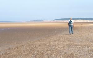 Holkham Beach, approaching Lady Anne's Drive, John on Ruth's Coastal Walk