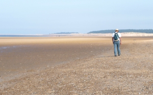 Holkham Beach, approaching Lady Anne's Drive, John on Ruth's Coastal Walk