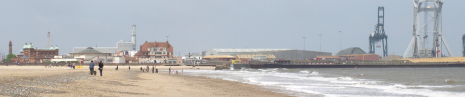 Gorleston beach, with Great Yarmouth docks in background, Ruth's coastal walk