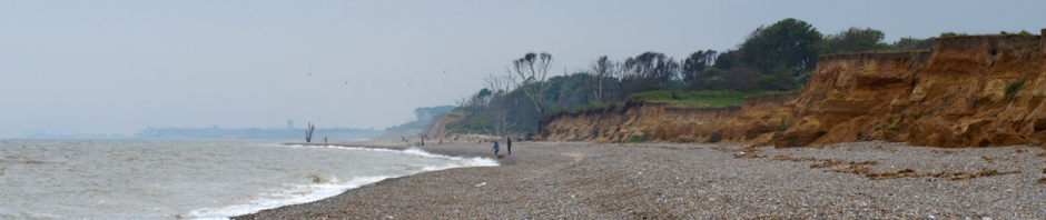 Cliffs towards Covehithe - Ruth's coastal walk nearly comes to a sticky end