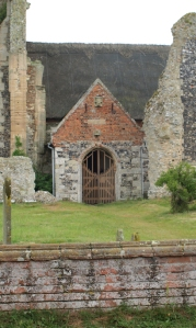 Thatched church built in ruined abbey, at Covehithe - Ruth's coastal walk