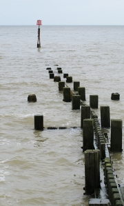 Groynes at Mundesley, high tide. Ruths walk in Norfolk