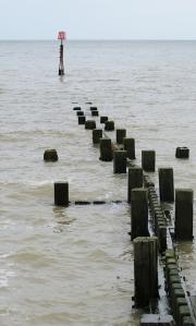 Groynes at Mundesley, high tide. Ruths walk in Norfolk