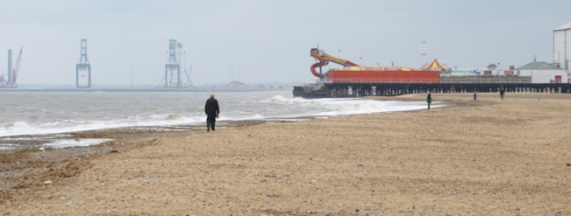 Ruth's walk, approaching Great Yarmouth Britannia pier, from the North