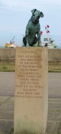Dog statue in Aldeburgh, Memorial to local doctor - Ruth's coastal walk