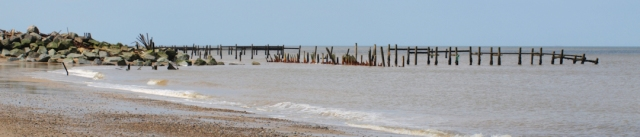 Ruined sea defences, Norfolk coast, Ruths coastal walk