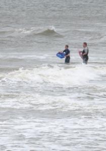 Body surfers on Gorleston beach - Ruth's Coastal Walk around the UK