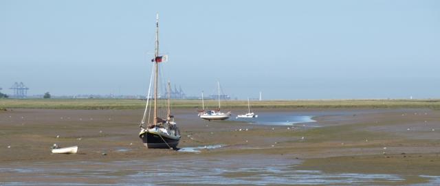 View across marsh towards Felixstowe, Ruth's coastal walk
