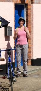 Ruth outside pub, Great Oakley - coastal walk