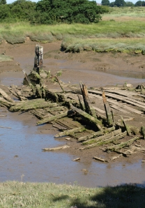 old boat in mud, Hamford Water marshes, Essex - Ruths walk