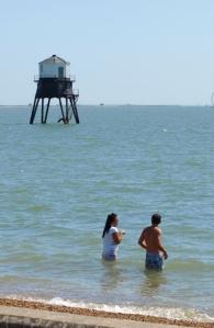 Dovercourt Lighthouse, in sea, Essex - Ruth's coastal walk
