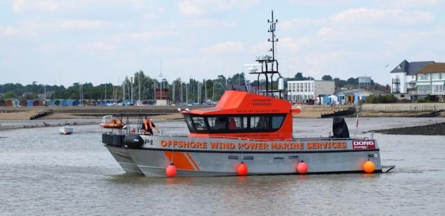 Offshore Windfarm Boat - Ruth's coastal walk.