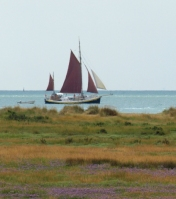 Red sailed ship, Essex coast. Ruth's coastal walk