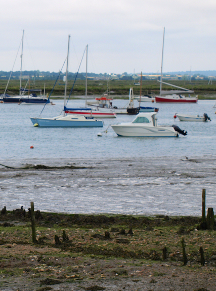 Boats in Strood Channel, Mersea, Essex - Ruths coastal walk