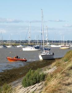 Ship against sea wall, Bradbury marina, Ruth's coastal walk