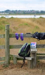 Drying out Ruth's kit, Old Hall Marshes, Ruth's coastal walk in Essex