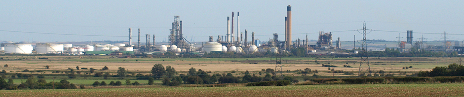 Oil Refinery across Fobbing Marshes, Ruths coastal walk, Essex.