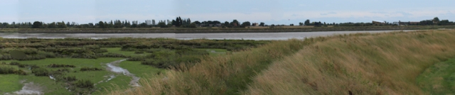 Panoramic montage of River Roach, Essex. Ruth's coastal walk.