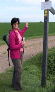 Signpost at beginning of walk, Tillingham Marshes, Ruth's coastal walk