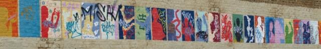 Art work on wall, Southend-on-Sea, Essex - Ruth walks the coast.