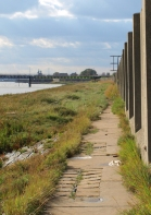 Wall by the Thames, Tilbury Power Station, Ruth's coastal walk round the UK.