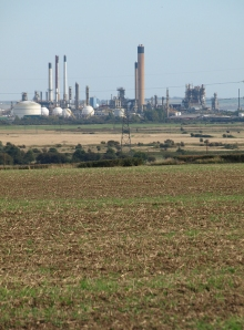 Oil Refinery across Fobbing Marshes, Ruth's coastal walk, Essex