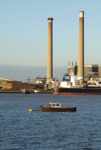 Tilbury Power Station, with Thames. Ruth's coastal walk.