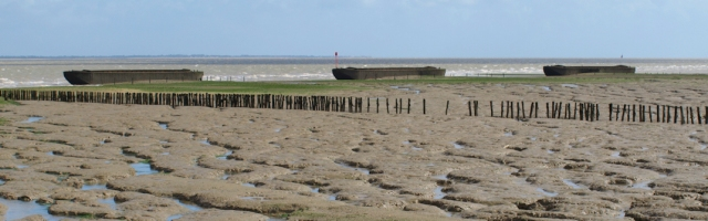 Barges as breakwaters at Sales Point, Dengie Peninsula, Ruth's coastal walk.