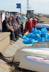Oil clean up crew, Essex. Ruth's coastal walk.