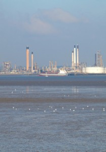 Canvey Island, view over the Thames, Ruth's coastal walk, Kent.