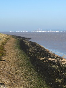 Looking towards Canvey Island, Hoo Peninsula, Kent. Ruth's coastal walk.