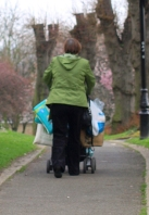 Woman with laden pushchair, Gillingham, Ruth's coastal walk