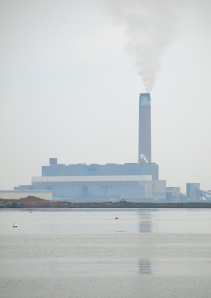 Kingsnorth Power Station, in morning mist, Ruth's coastal walk