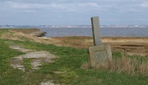 Monument marking completion of Thames Flood Defences, Ruth's coastal Walk