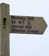 Sign with interesting names, Gillingham, Kent. Ruth's coastal walk.