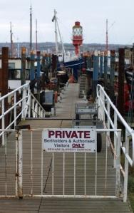 Marina and Private sign, Saxon Way, Ruth's coastal walk.