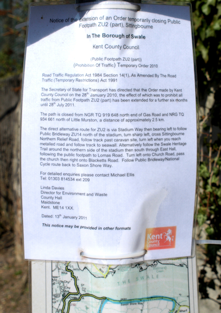 Closure of footpath notice, Sittingourne, Ruth's coast walk.