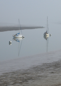Sailing ships in misty light, The Swale, Kent, Ruths coastal walk.