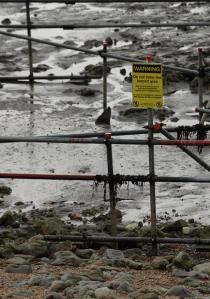 warning in the mud, Ruth's coastal walk, Kent