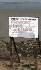 Medway Ports sign, The Swale, Kent. Ruth's coast walk.