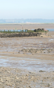 Mud, wrecked hulls and water, The Swale, The Saxon Shore Way, Ruth's coastal walk.