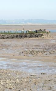 Mud, wrecked hulls and water, The Swale, The Saxon Shore Way, Ruth's coastal walk.
