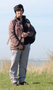 Ruth, on coastal bank, Saxon Shore Way, The Swale, Kent.