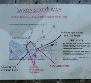 Detour notice and map, Saxon Shore Way, Faversham