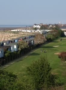 beach huts and golf course from bridge, Ruth's coastal walk, Whitstable.