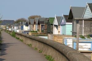 Beach huts, Whitstable. Ruth's coastal walk, Kent.