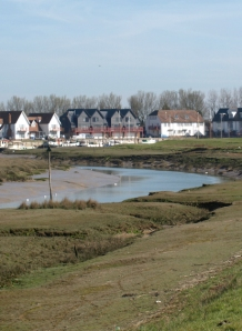 Conyer Creek, smart houses. Ruth's coastal walk. Kent.