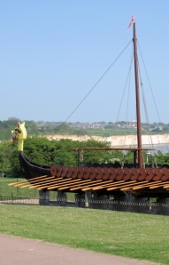 Viking ship, Pegwell Bay, Thanet Coastal Path, Kent. Ruths coastal walk.