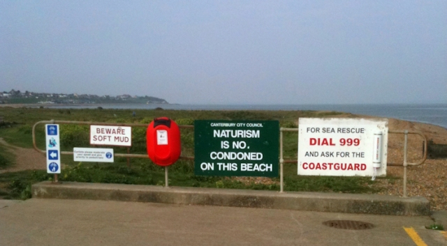 naturism warning, Kent coast. Ruth's walking.